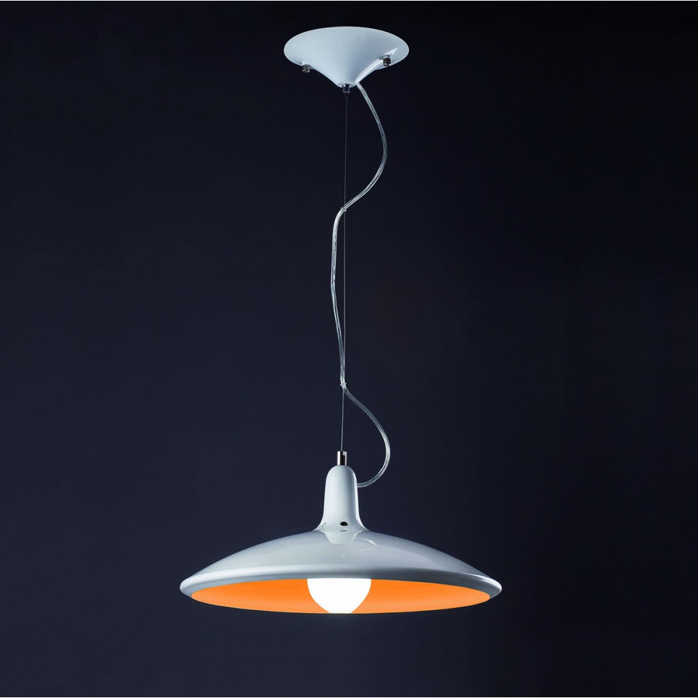 Suspension cuisine orange et blanche luminaire design - Suspension cuisine design ...