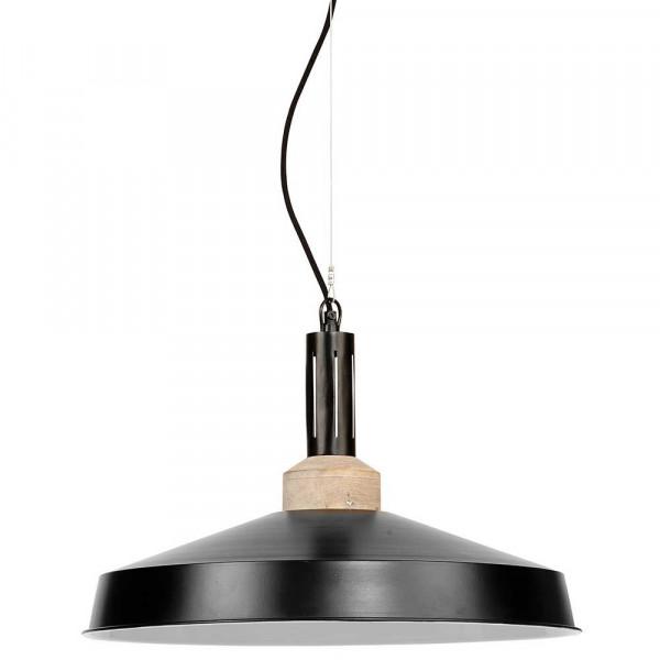suspension industrielle noire bois et m tal moderne. Black Bedroom Furniture Sets. Home Design Ideas